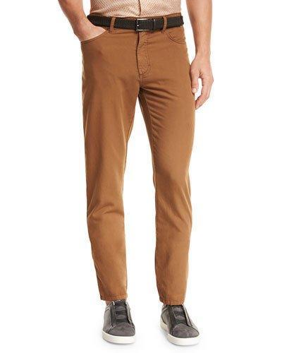 Ermenegildo Zegna Five-pocket Straight-leg Pants, Cognac In Md Bge Sld