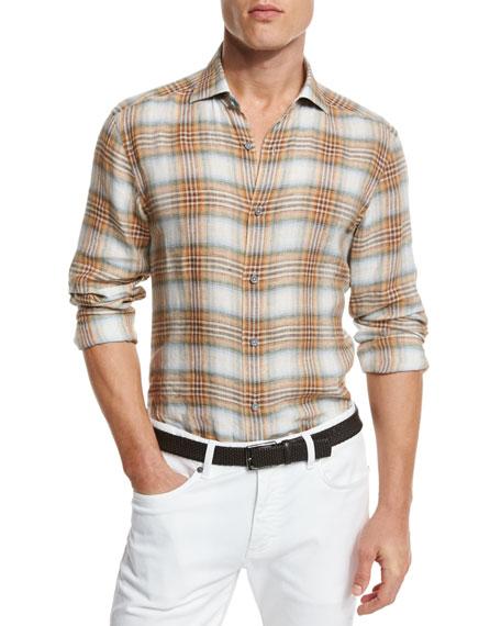 Ermenegildo Zegna Plaid Linen Sport Shirt, Orange/medium Brown Check In Md Brw Ck