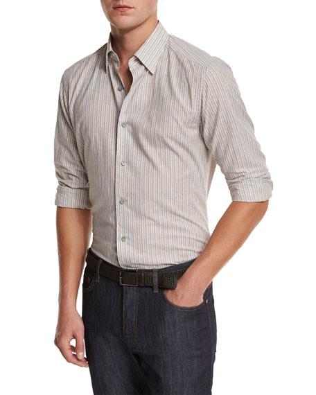 Ermenegildo Zegna Melange Striped Sport Shirt, Tan, Md Bgestrp
