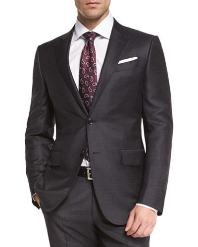 Ermenegildo Zegna Trofeo Wool Tonal-check Two-piece Suit, Charcoal