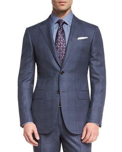 Ermenegildo Zegna Trofeo 600 Plaid Two-piece Suit, Blue