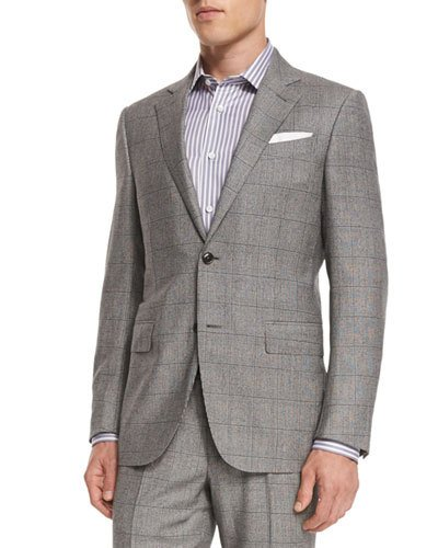 Ermenegildo Zegna Plaid Wool Two-piece Suit, Black/white In White/black