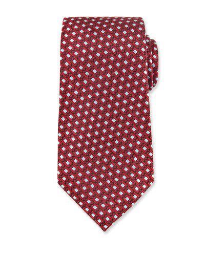Ermenegildo Zegna Woven Boxes Neat Silk Tie, Red