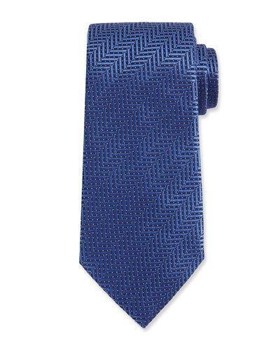 Ermenegildo Zegna Herringbone Woven Silk Tie, Blue