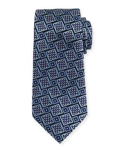 Ermenegildo Zegna Basketweave Geometric Tie, Navy