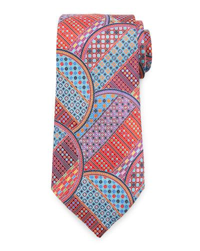 Ermenegildo Zegna Quindici Geometric Circle Tie In Red