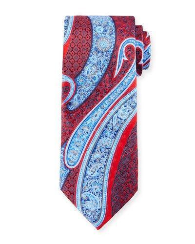 Ermenegildo Zegna Paisley-Print Silk Tie In Red