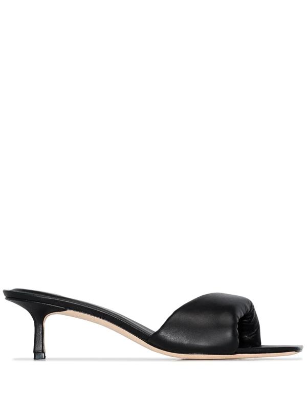 Studio Amelia Padded Open Toe Mule Sandals In Black