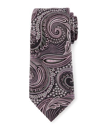 Ermenegildo Zegna Floral Paisley Silk Tie, Gray/pink
