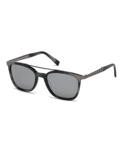 Ermenegildo Zegna Acetate & Chevron Metal Rectangular Glasses, Blue Havana/gray