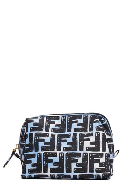 Fendi X Joshua Vides Ff Logo Nylon Cosmetics Case In Blue
