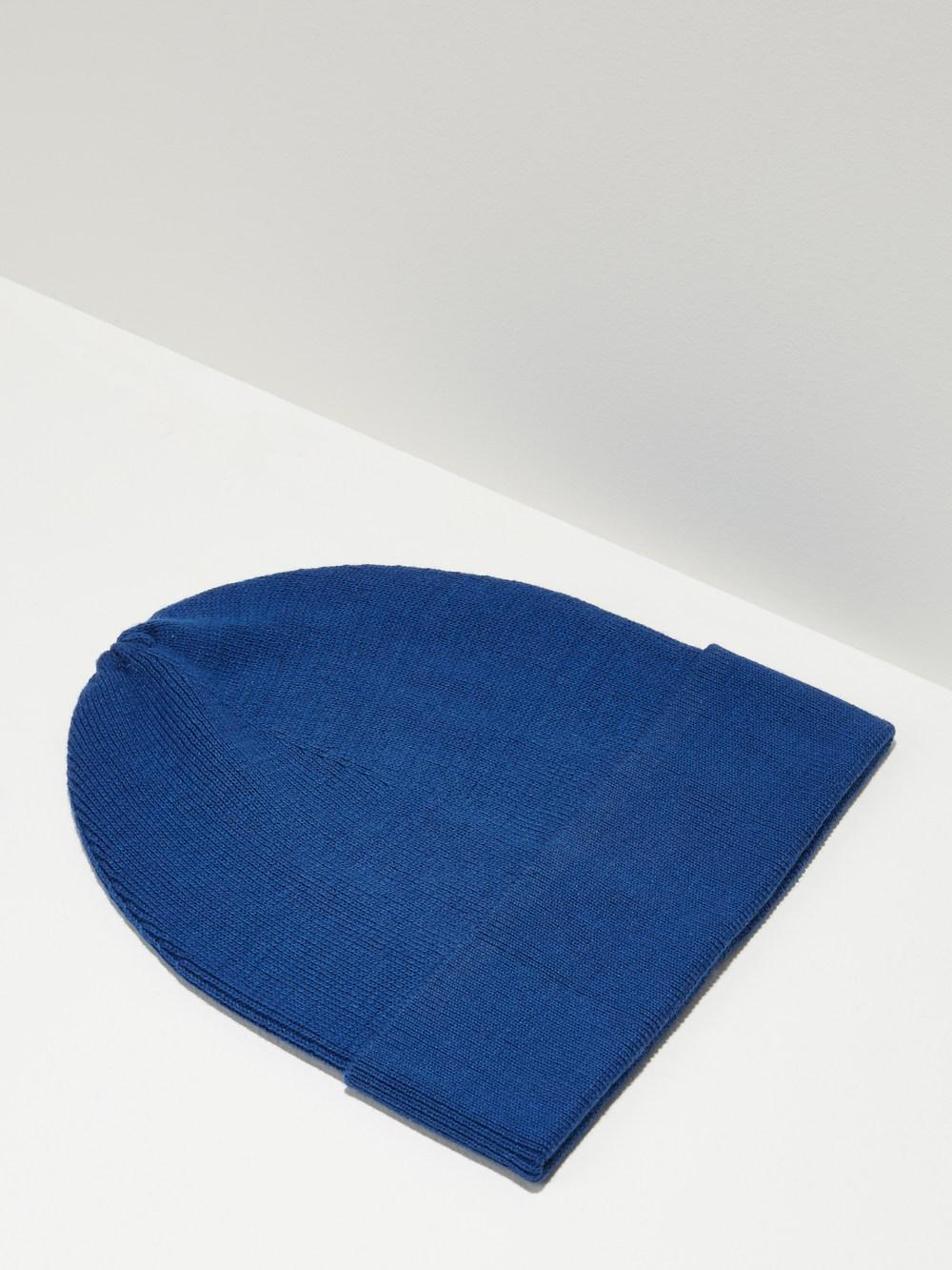 Frank + Oak Fine Knit Cotton Beanie In Cobalt