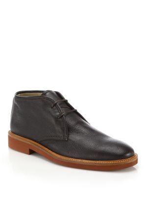 Ermenegildo Zegna Deerskin Chukka Boots In Dark Brown