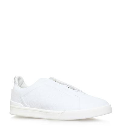 Ermenegildo Zegna Triple Stitch Full-grain Leather Slip-on Sneakers - White