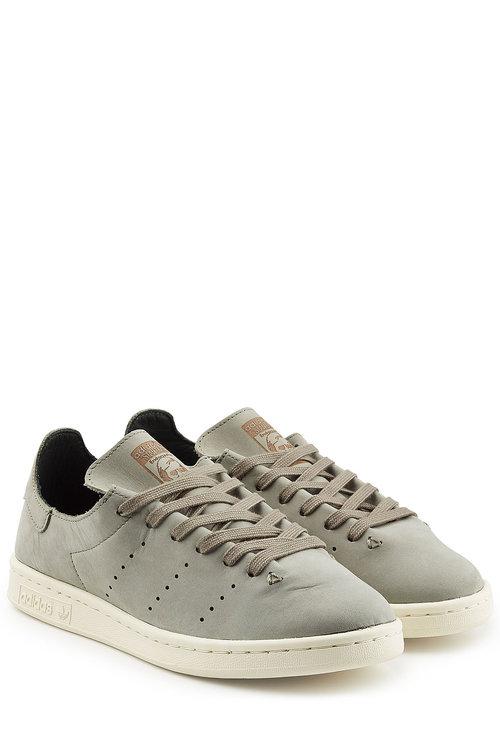 Adidas Originals Stan Smith Lea Sock Sneaker In Green Bb0007 - Green In Grey