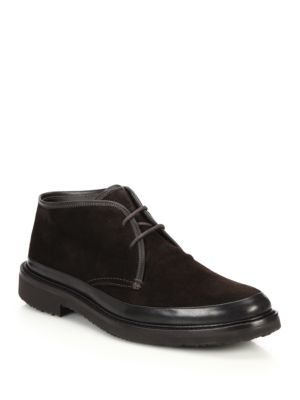 Ermenegildo Zegna Suede Chukka Boots In Dark Brown