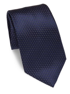 Ermenegildo Zegna Triangle Patterned Silk Tie In Navy