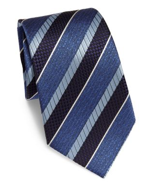 Ermenegildo Zegna Multi Stripe Silk Tie In Purple Blue