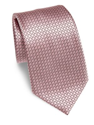 Ermenegildo Zegna Diamond Silk Tie In Pink