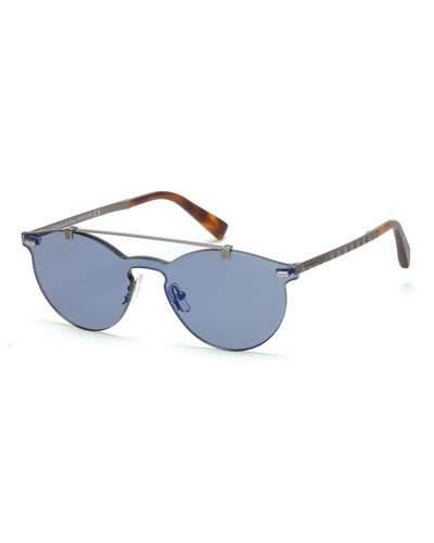 Ermenegildo Zegna Rimless Double-bar Round Sunglasses, Blue/havana In Gray/blue
