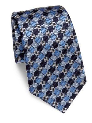 Ermenegildo Zegna Geometric Silk Tie In Blue