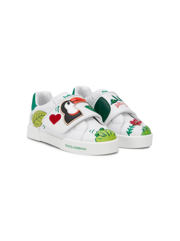 Dolce & Gabbana Kids' Jungle Print Portofino Sneakers In White