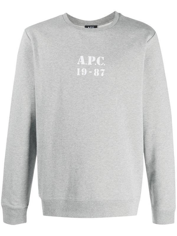 A.p.c. . Men's Coecqh27609pla Grey Cotton Sweatshirt