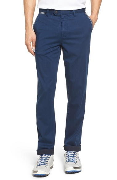 Ted Baker Water Resistant Golf Chinos In Navy