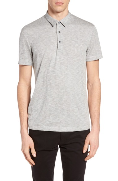 Theory Bron Slim Fit Polo In Grey Multi