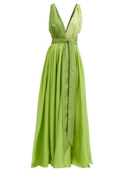 Kalita Adonis Colourblock Belted Sleeveless Silk Dress In Leaf Green