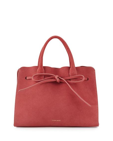 Mansur Gavriel Mini Suede Sun Tote Bag In Pink