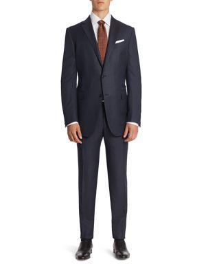 Ermenegildo Zegna Pinstriped Wool & Silk Blend Suit In Navy