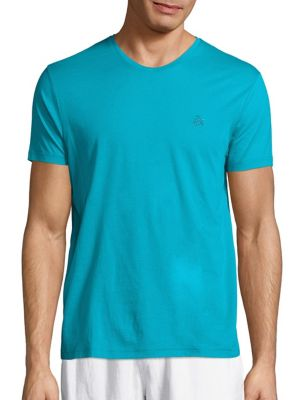 Vilebrequin Mercerized Cotton V-neck Tee In Prussian Blue