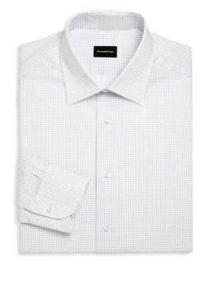 Ermenegildo Zegna Checked Regular Fit Dress Shirt In Bright Blue Check