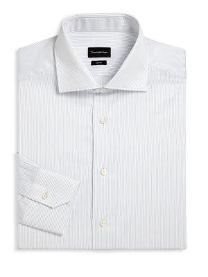 Ermenegildo Zegna Pinstriped Regular Fit Dress Shirt In Bright Blue Stripe