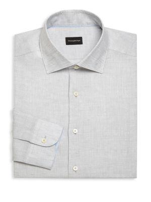 Ermenegildo Zegna Regular-fit Linen Dress Shirt In Grey