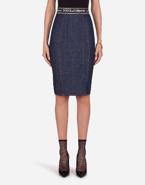 Dolce & Gabbana Denim Midi Skirt Wit Logo Elastic Waistband In Blue