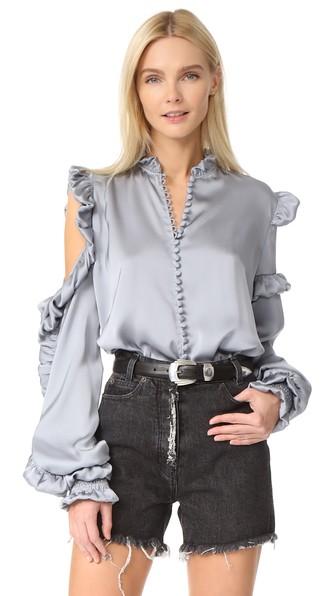 Magda Butrym Lecce Silk Satin Cold-shoulder Blouse, Gray In Grey