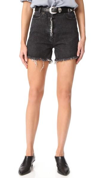 Magda Butrym Frayed Denim Shorts In Grey