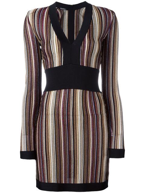 Balmain V-neck Striped Dress In Multi