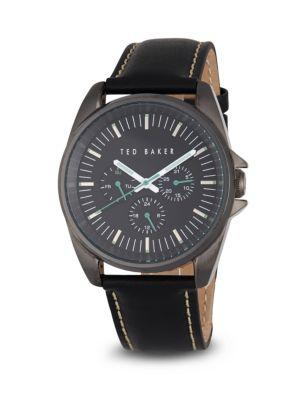 Ted Baker Round Leather Strap Watch In Black