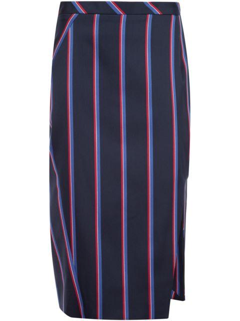 Altuzarra Monroe Striped Side-slit Pencil Skirt, Navy/tango In Blue