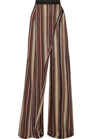 Balmain Woman Metallic Stretch-knit Wide-leg Pants Metallic In Black