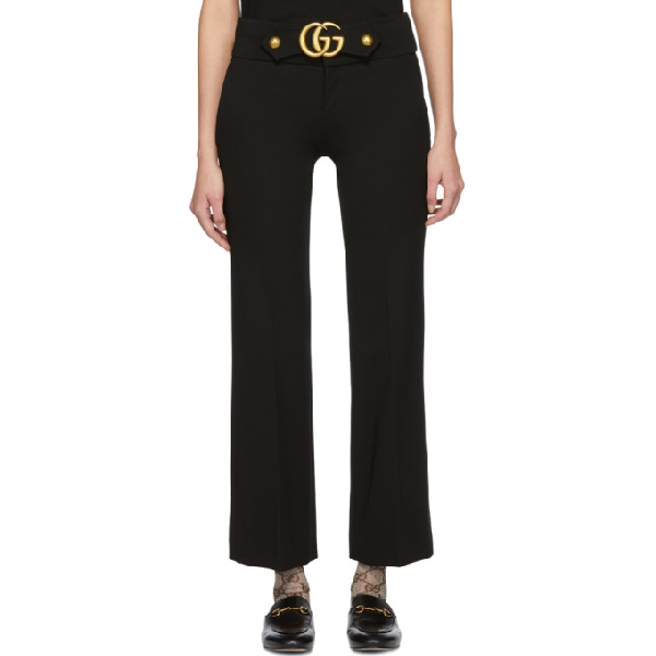 0ab08e5113be71 Gucci Cropped Embellished Crepe Flared Pants In 1000 Black | ModeSens