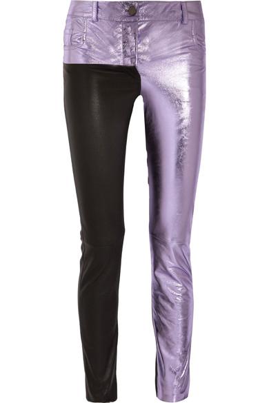 Haider Ackermann Woman Metallic And Matte Leather Skinny Pants Lilac