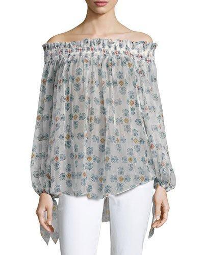 Caroline Constas Lou Off-the-shoulder Printed Chiffon Top, White Pattern