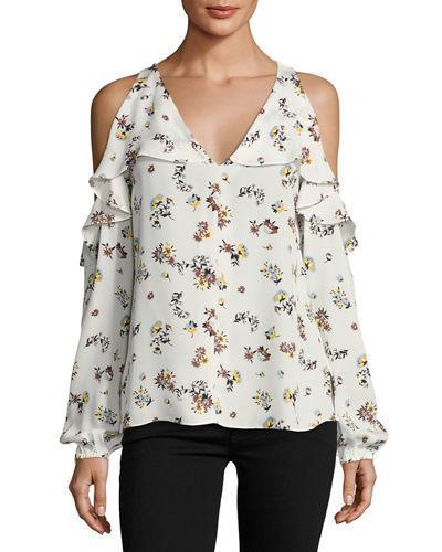 Kobi Halperin Marlena Cold-shoulder Floral-print Silk Blouse, Black In White