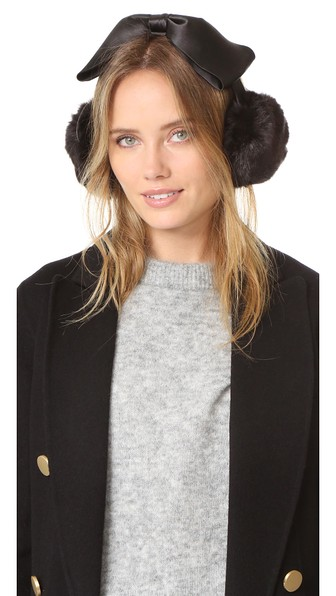 Kate Spade Earmuffs With Satin Bow In Black