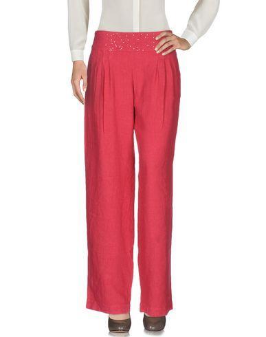 120% Lino Casual Pants In Fuchsia