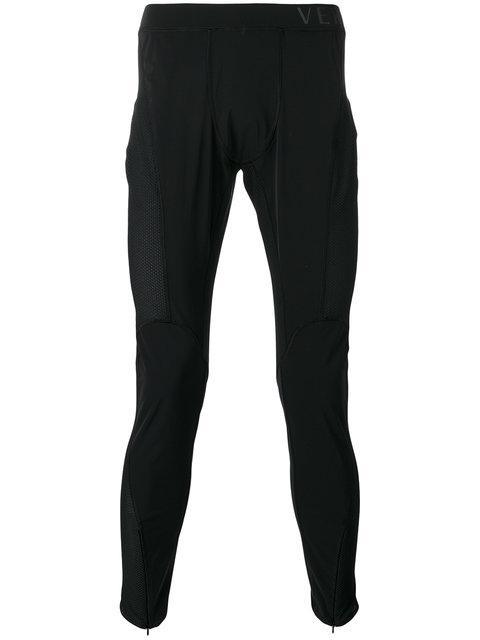 Versace Skinny Side Logo Track Pants In Black